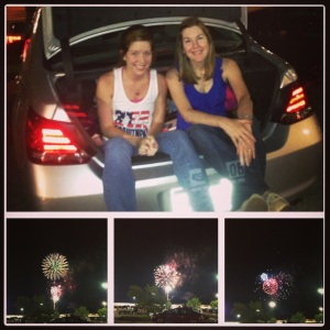 My mom and I watching the fireworks after the movie.